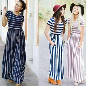 🆕 Maxi dress white black striped
